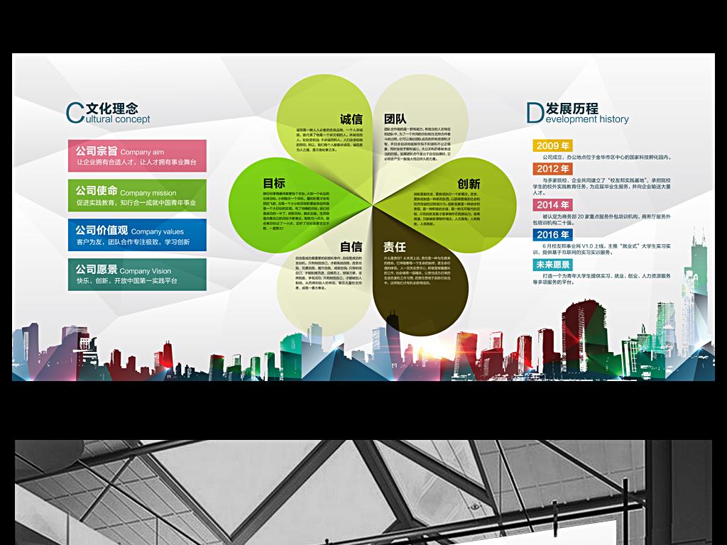 时尚企业文化形象墙海报设计