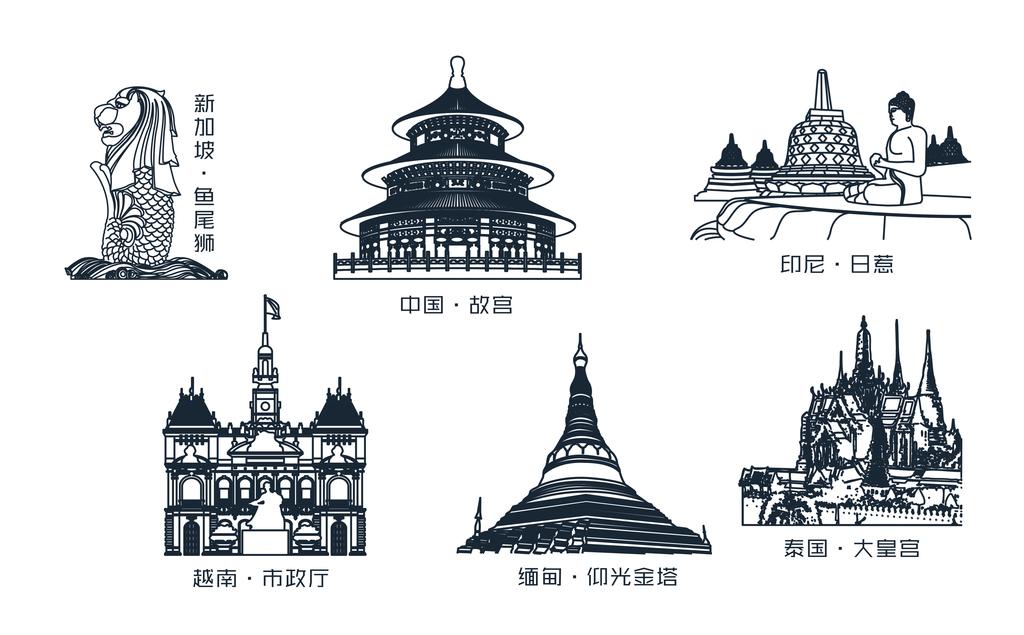 中国-东盟地标建筑线稿2