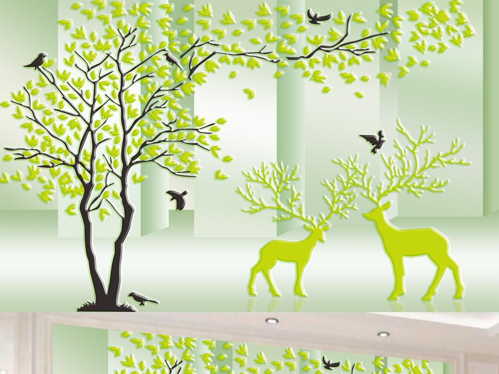 3D立体欧式手绘树林鹿电视背景墙