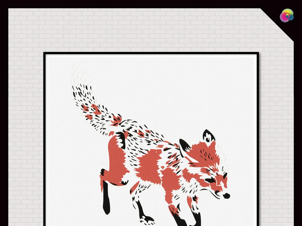 北欧手绘小清新复古狐狸插画无框画