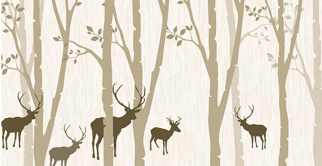 复古怀旧森林麋鹿电视背景墙装饰画