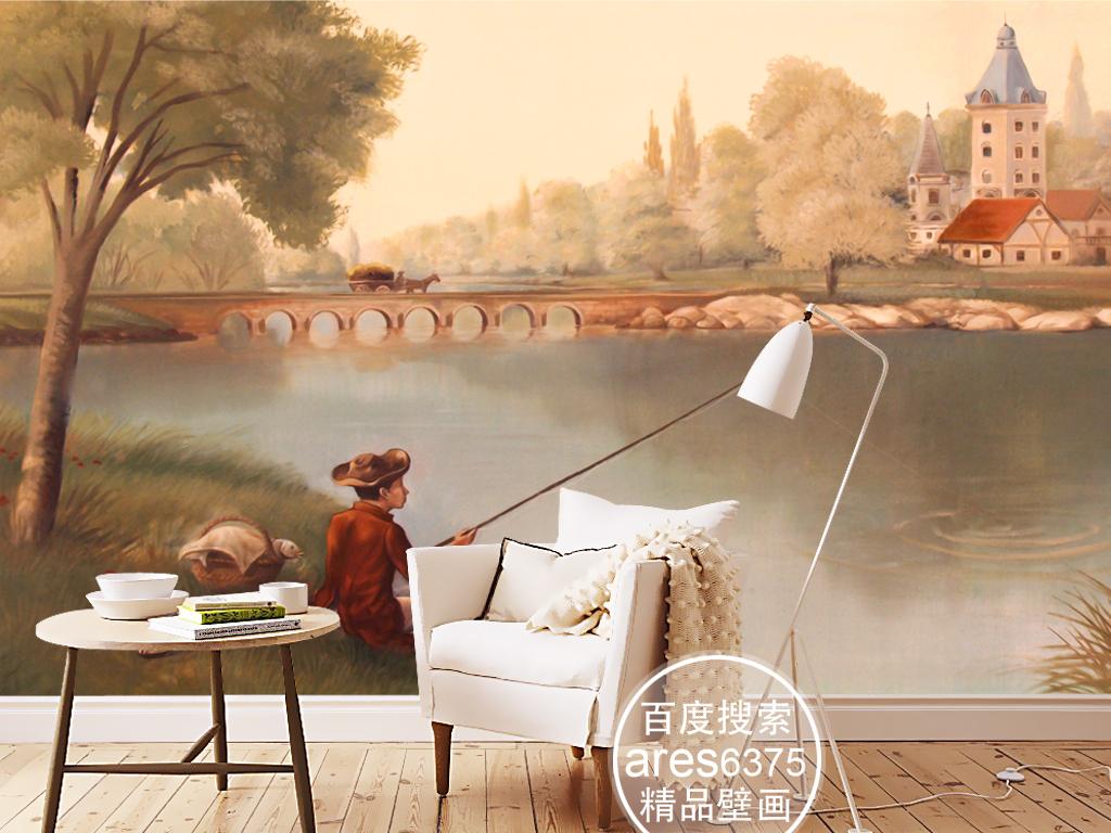欧式复古手绘背景风景背景田园欧式风景风景欧式钓鱼欧式田园唯美