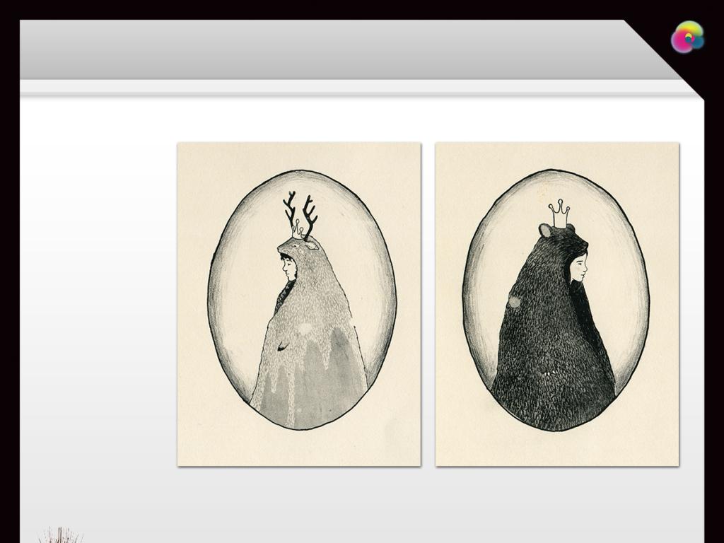 手绘小清新抽象麋鹿无框画北欧风铅笔素描