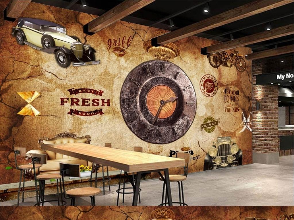欧式复古工业风立体时钟酒吧咖啡店背景墙