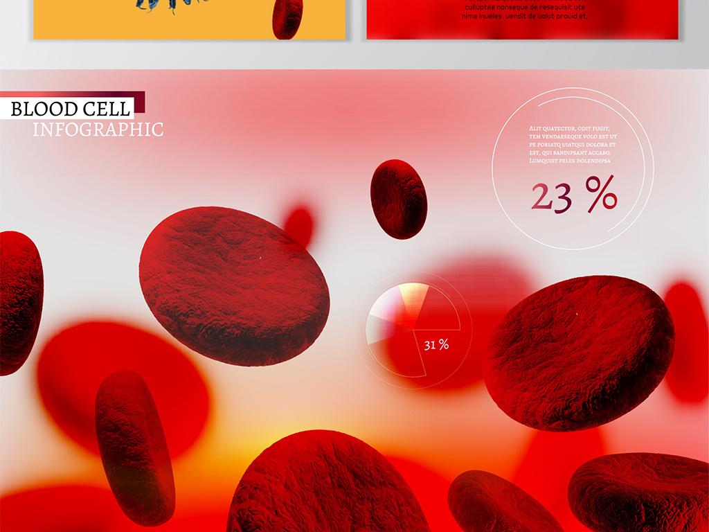 医疗生物科技血液细胞海报展板矢量背景