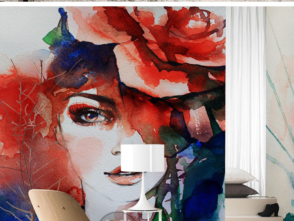 北欧简约时尚抽象手绘美女花卉水彩背景墙