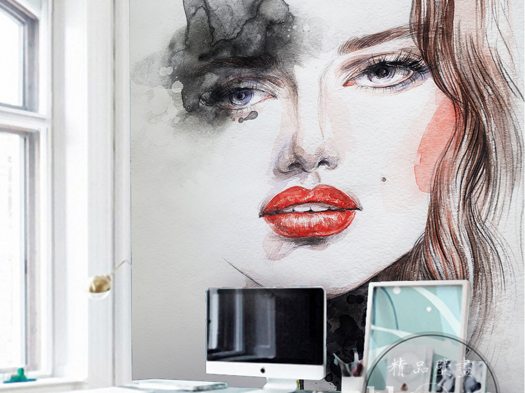北欧简约时尚水彩手绘抽象美女玄关过道