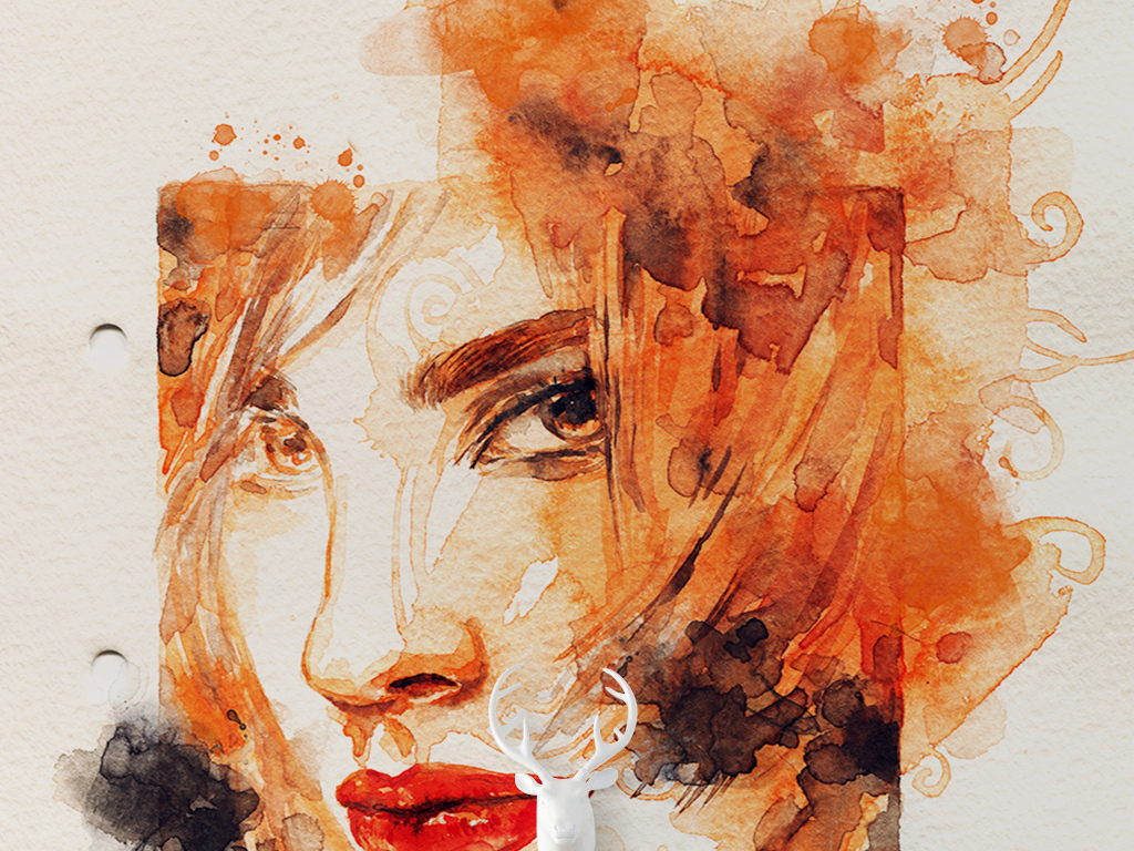 玄关 油画|立体油画玄关 > 橙色时尚抽象手绘水彩美女绘画玄关过道
