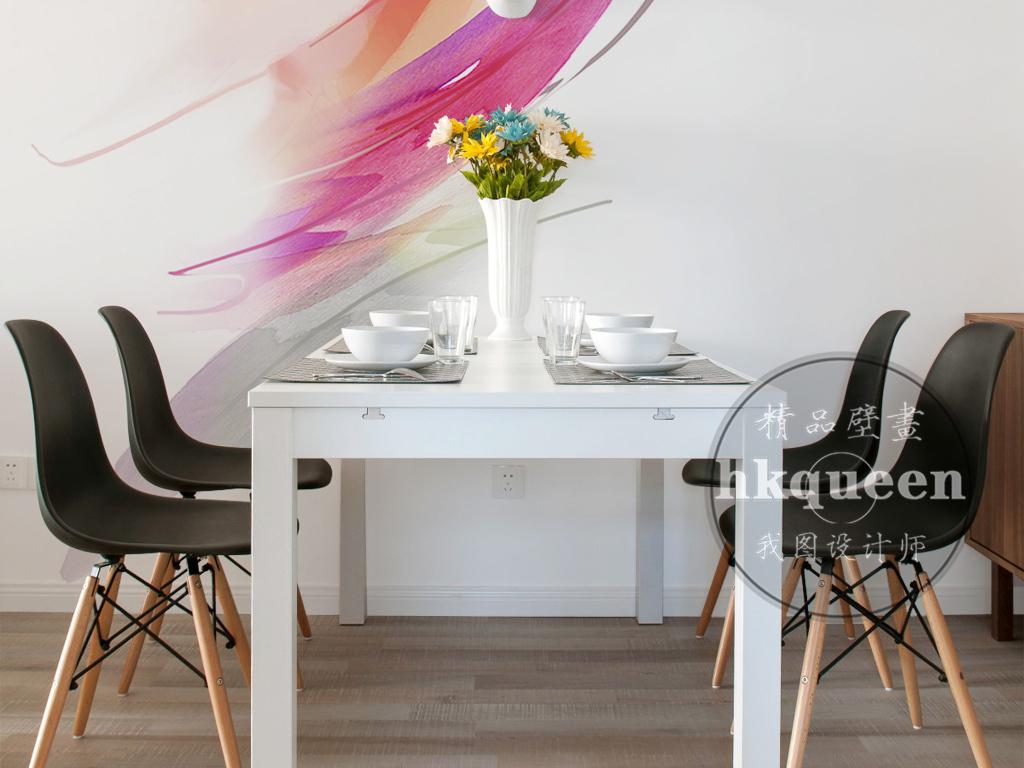 北欧简约时尚水彩手绘抽象油画玄关过道