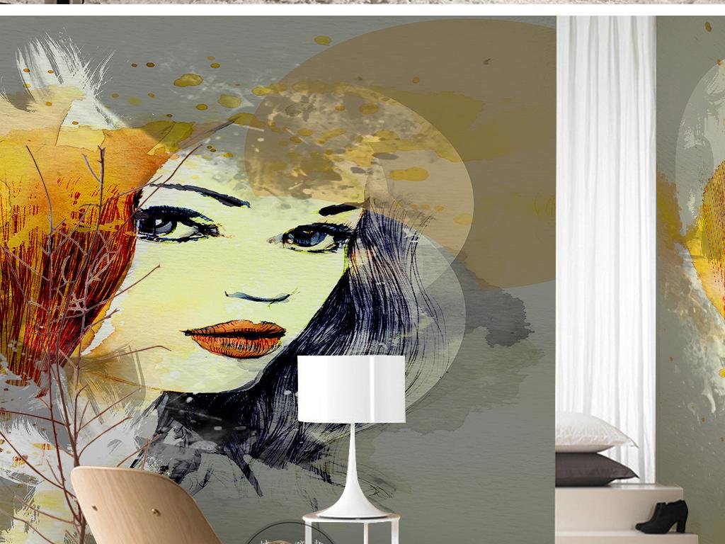 北欧简约时尚红唇美女手绘卡通抽象背景墙