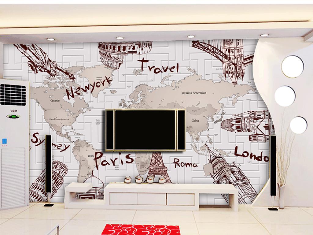 手绘建筑3d电视背景墙