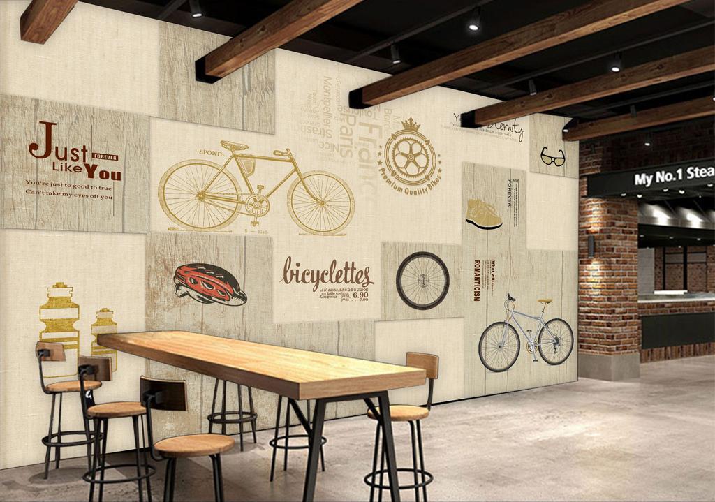 手绘自行车英文字母木板纹理咖啡厅背景墙图片设计_(.