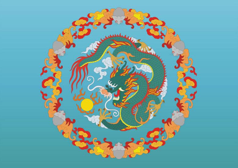 圆形中国龙彩色图腾矢量图图片素材_ai模板下载(2.6)