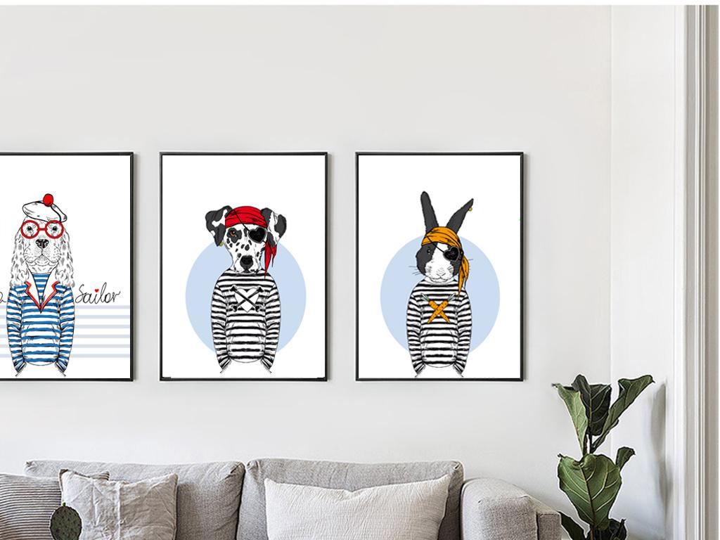 背景墙|装饰画 无框画 动物图案无框画 > 现代简约创意动物组合画图片