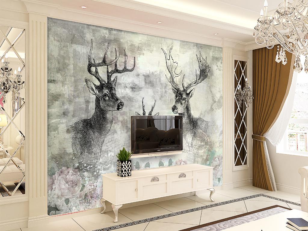 电视背景墙 手绘电视背景墙 > 鹿头复古手绘鹿头手绘牡丹花壁纸背景墙