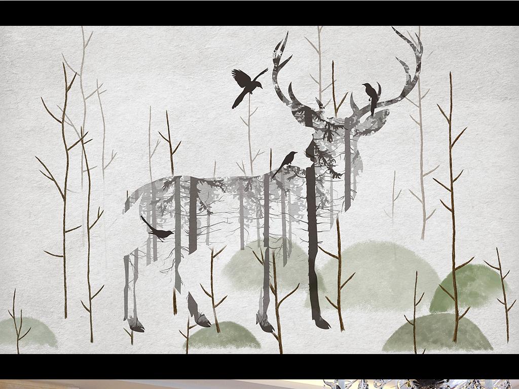 头水彩画手绘梅花鹿太阳花森系梦幻北欧艺术电视背景墙图片玻璃电视图片