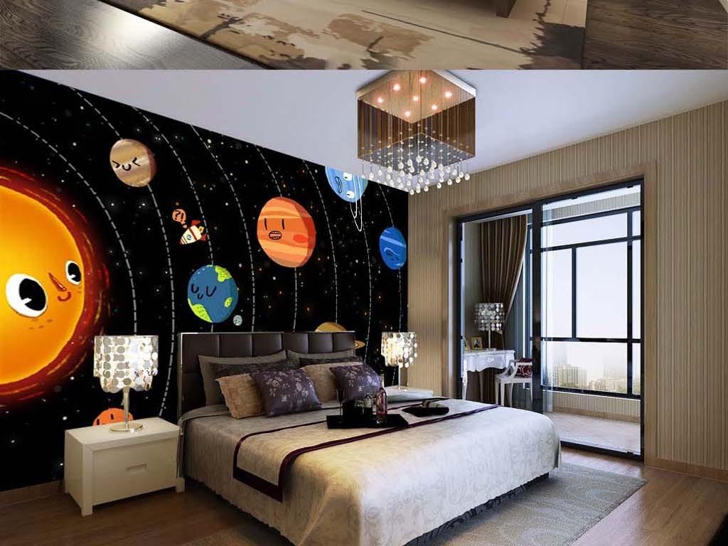 巨幅太阳系儿童房背景墙星球星空地球图片