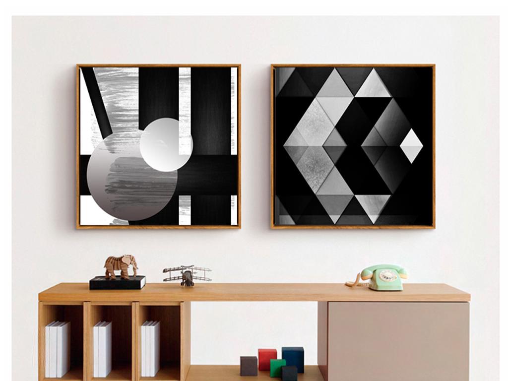 现代简约黑白抽象几何图形无框画图片