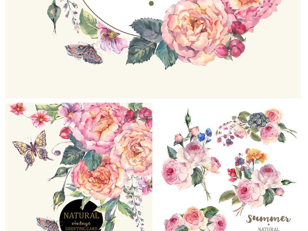 唯美水彩花卉背景素材