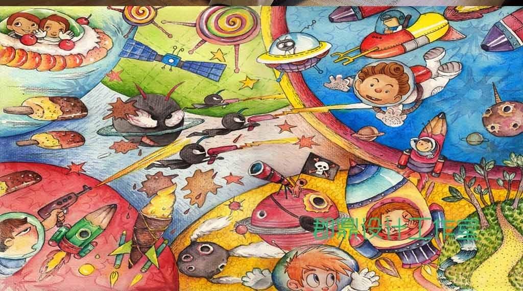 外太空图片大全儿童画-儿童奇幻太空大战太空之旅图片