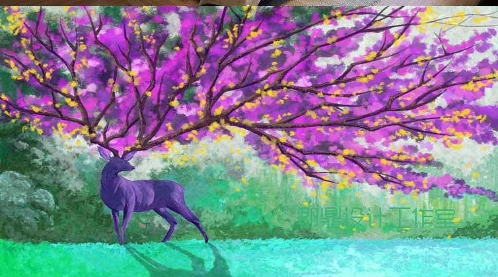 奇幻森林动物紫色鹿巨大角