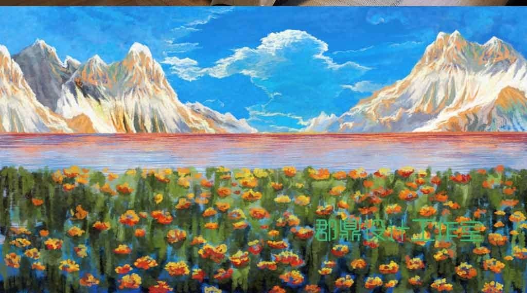 奇幻森林手绘油画蓝色天空下的花海