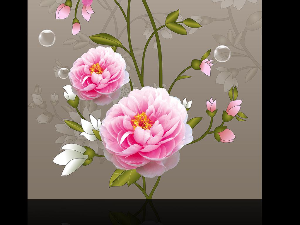 鲜花泡泡玄关画手绘花藤psd高清分层时尚花卉花瓣牡丹玄关画芍药