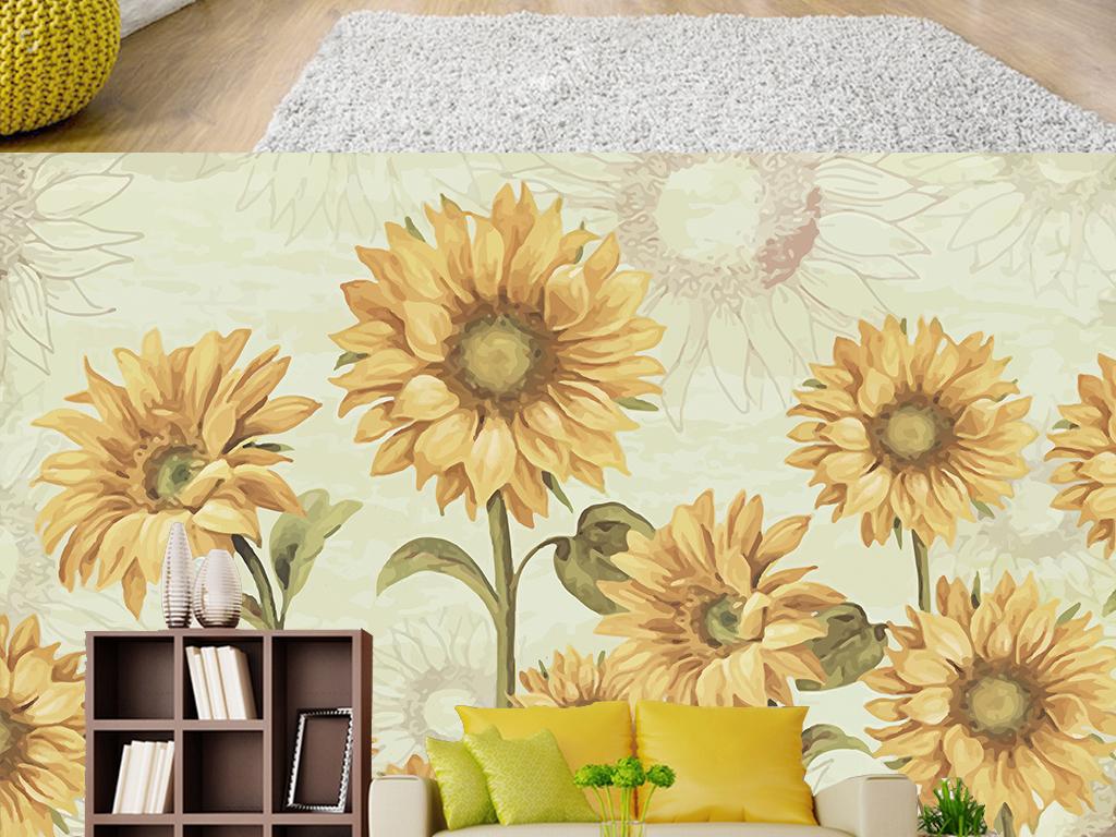 复古美式手绘向日葵花丛客厅电视背景墙图片设计素材