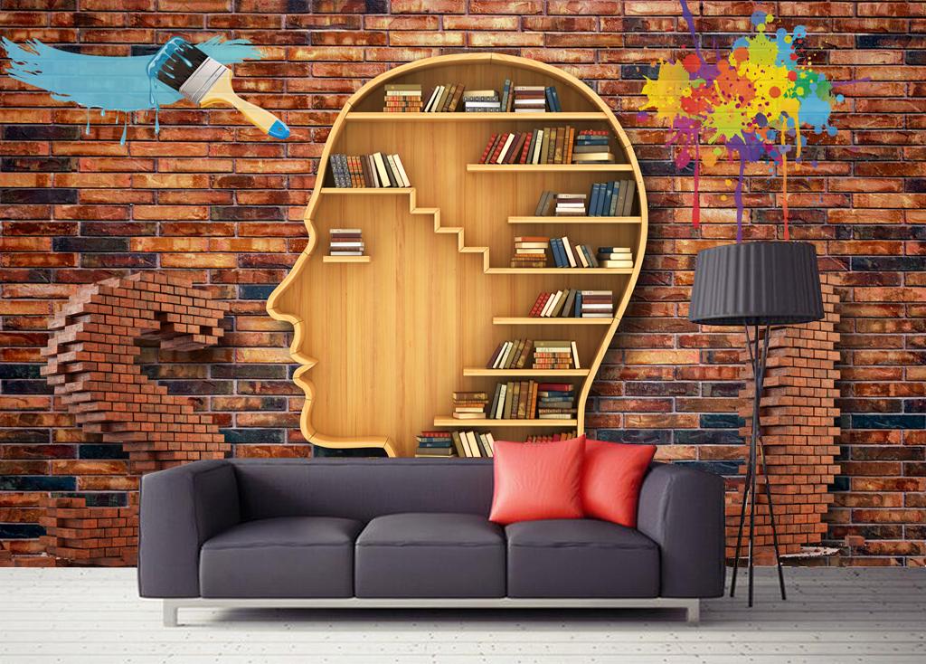 背景墙书架书柜欧式复古背景墙壁纸墙纸壁画装饰画墙