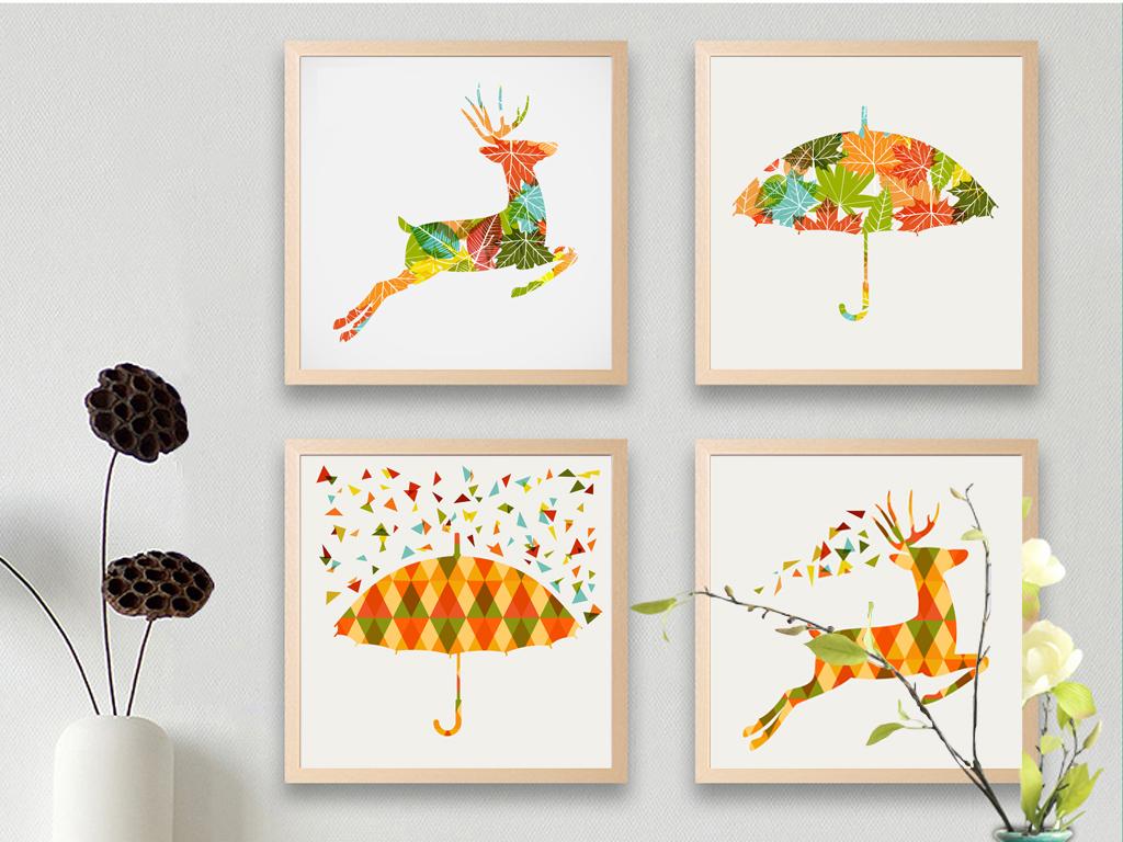 背景墙|装饰画 无框画 动物图案无框画 > 现代创意麋鹿雨伞插画矢量图片