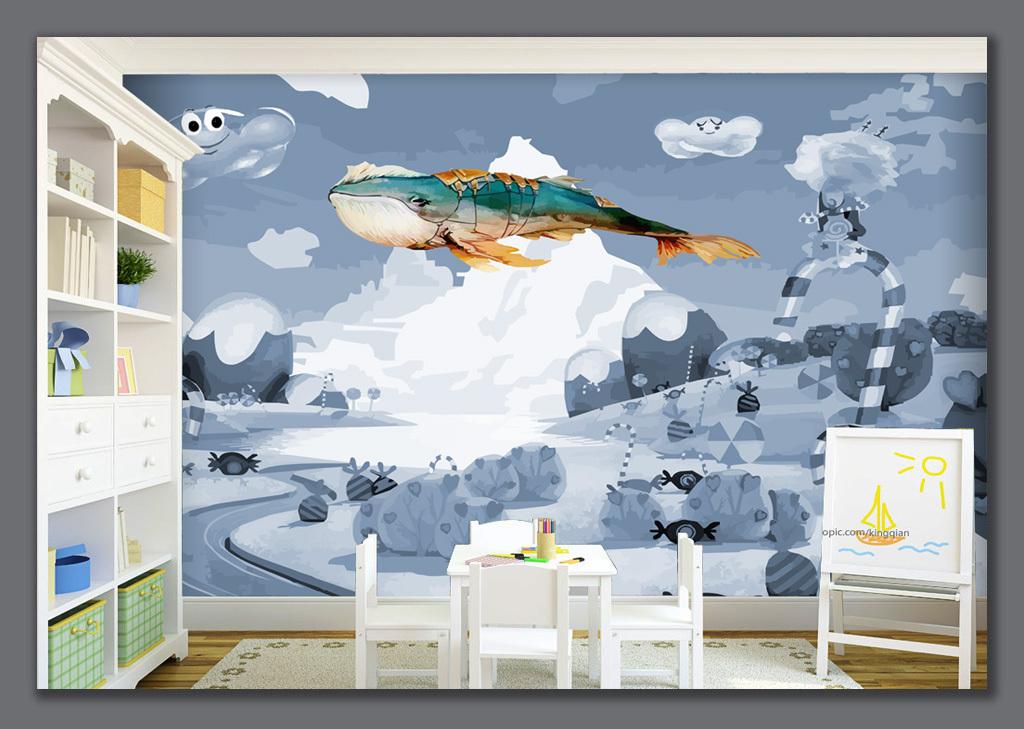 卡通手绘鲸鱼儿童房背景墙