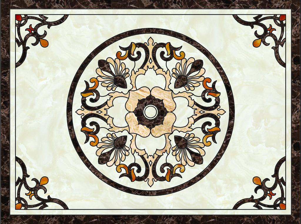 欧式花纹高清分层大理石纹陶瓷瓷砖地砖拼花图片