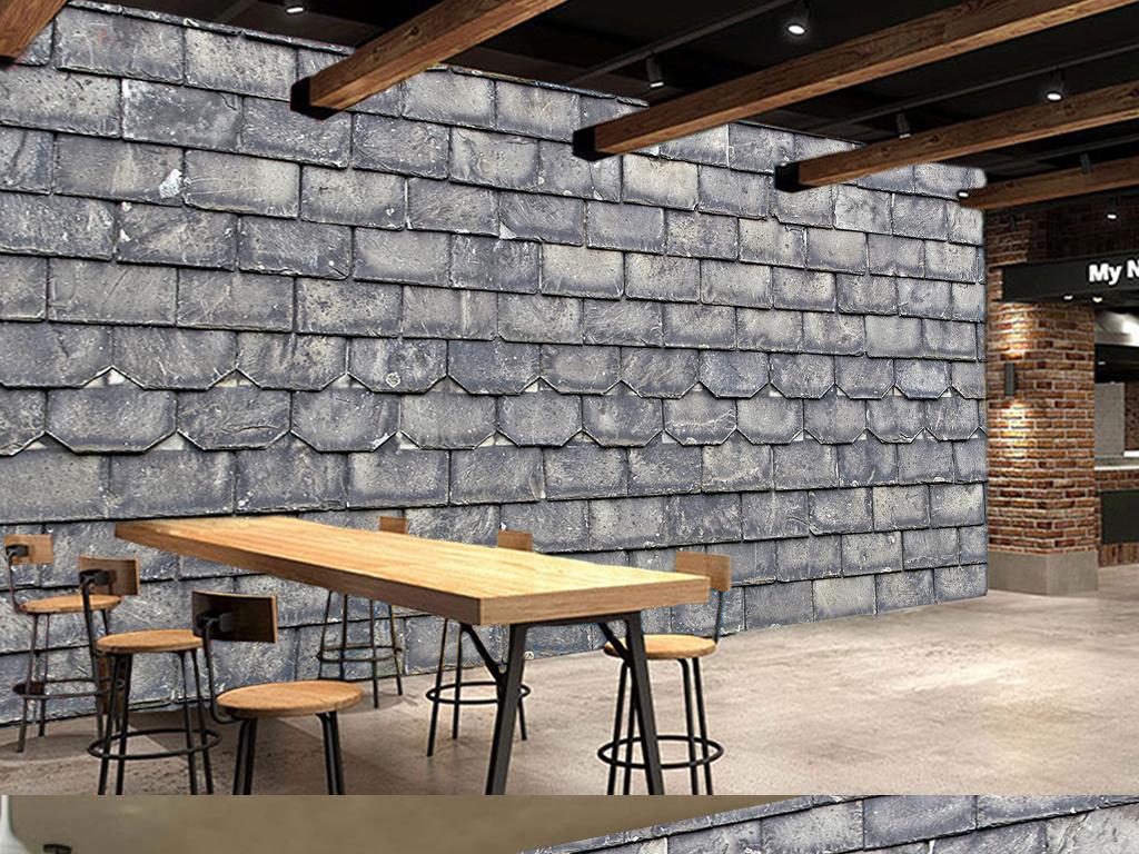 墙家装工装现代3d立体欧美手绘酒吧餐厅美食瓦片红砖ktv材质石头文化