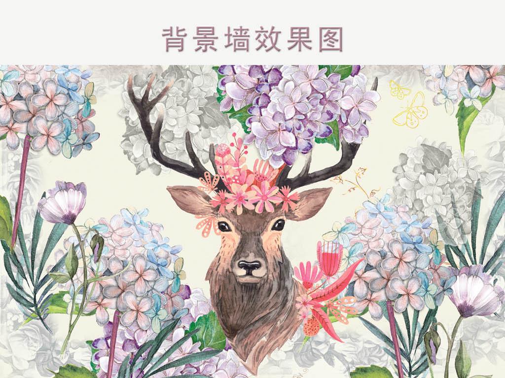 手绘复古花朵麋鹿背景图(图片编号:15691975)_儿童房