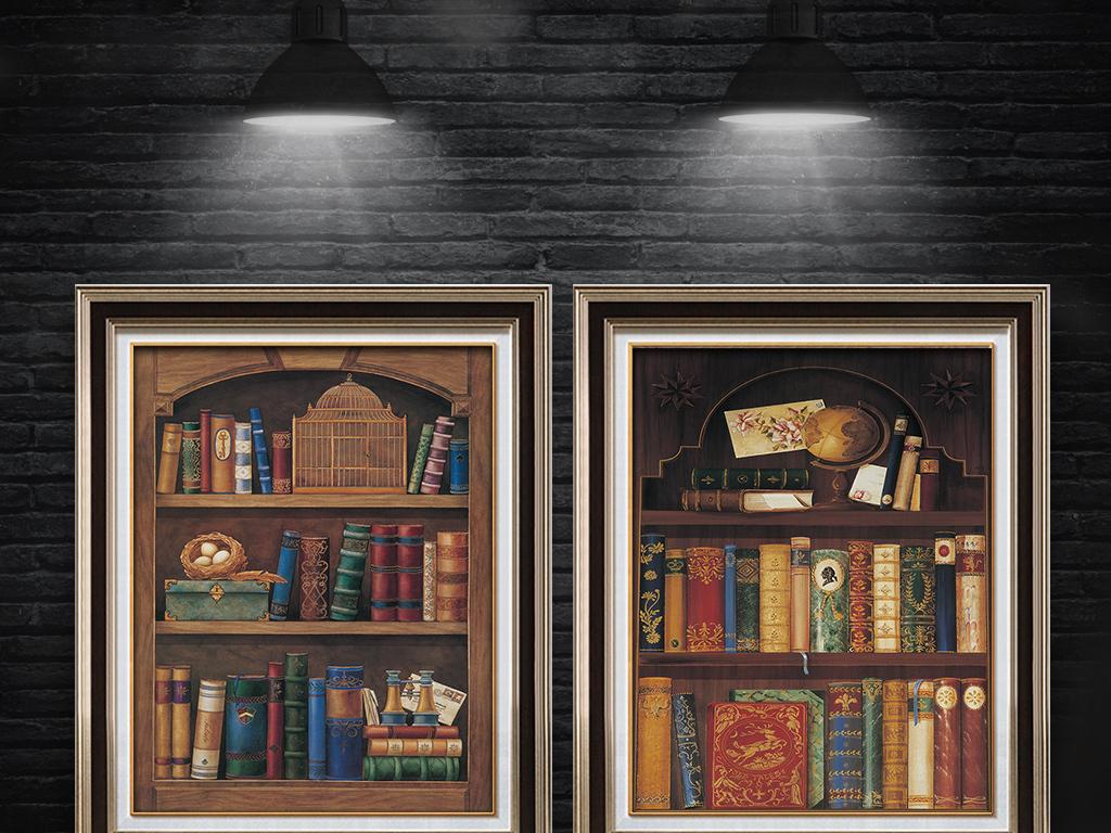 立体书架书柜书本无框画