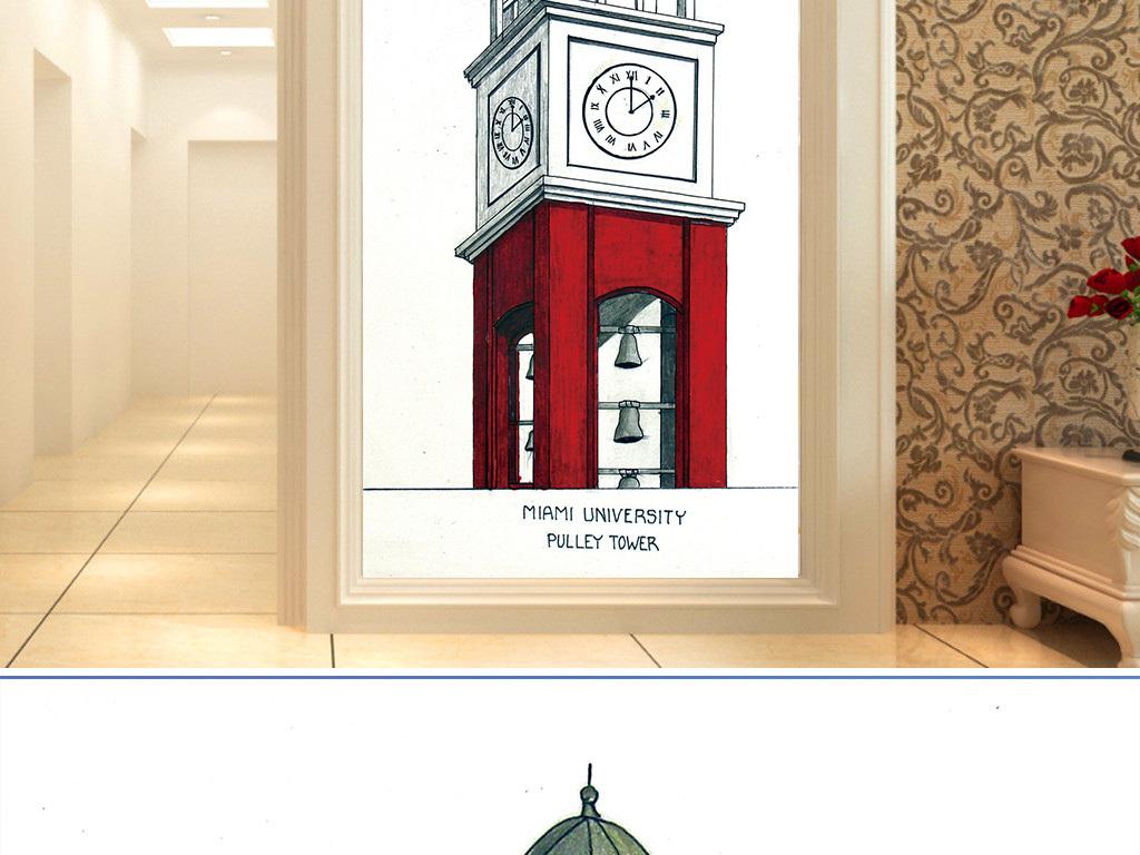 简约手绘钟楼时钟玄关画