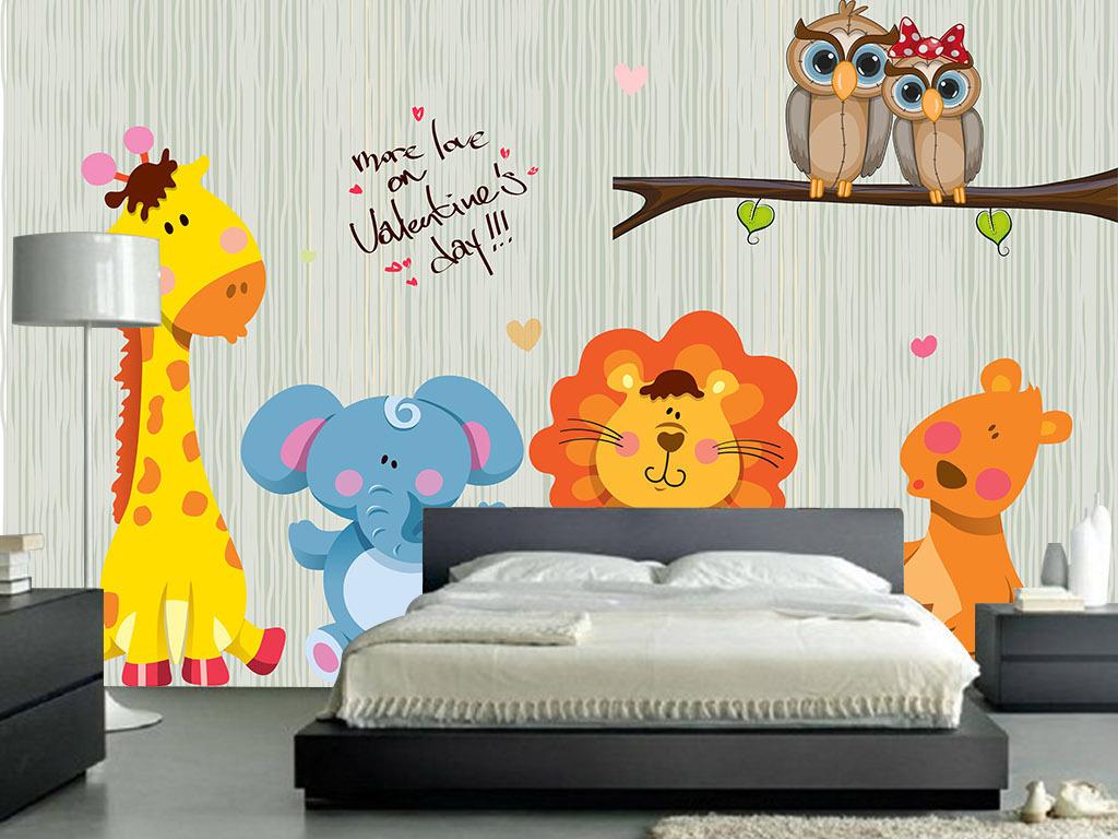 高清手绘卡通动物背景墙
