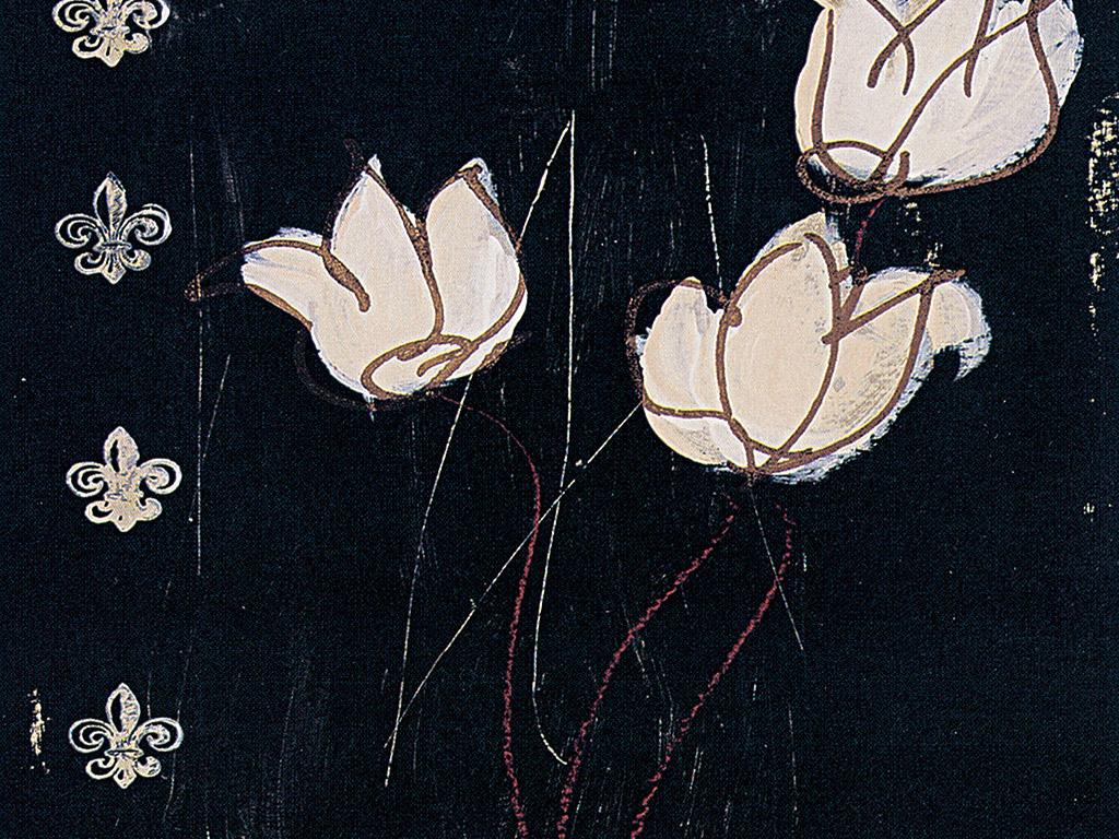 黑底背景抽象白色插花