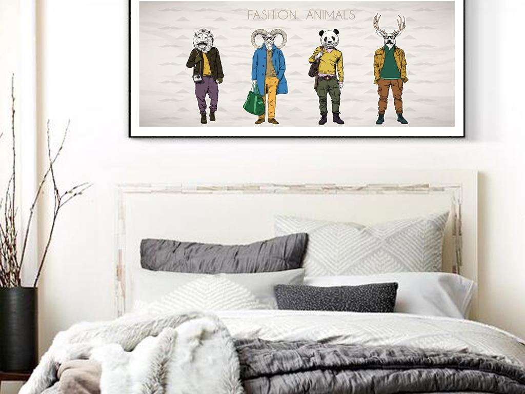 现代时尚北欧动物横幅床头画