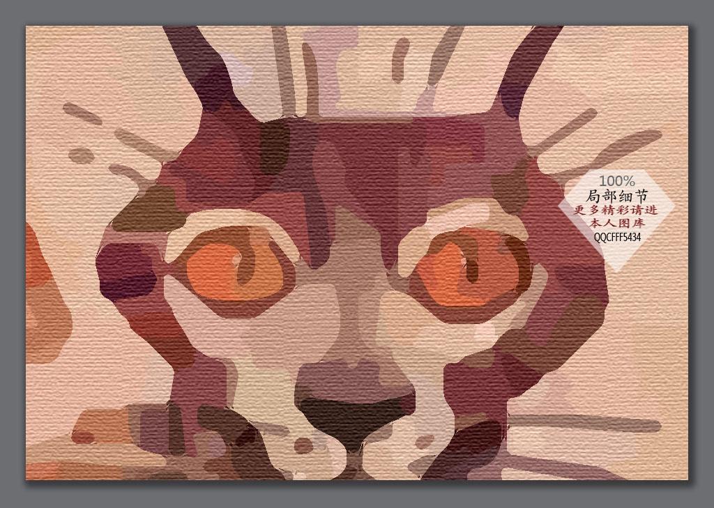 手绘猫咪卡通背景墙