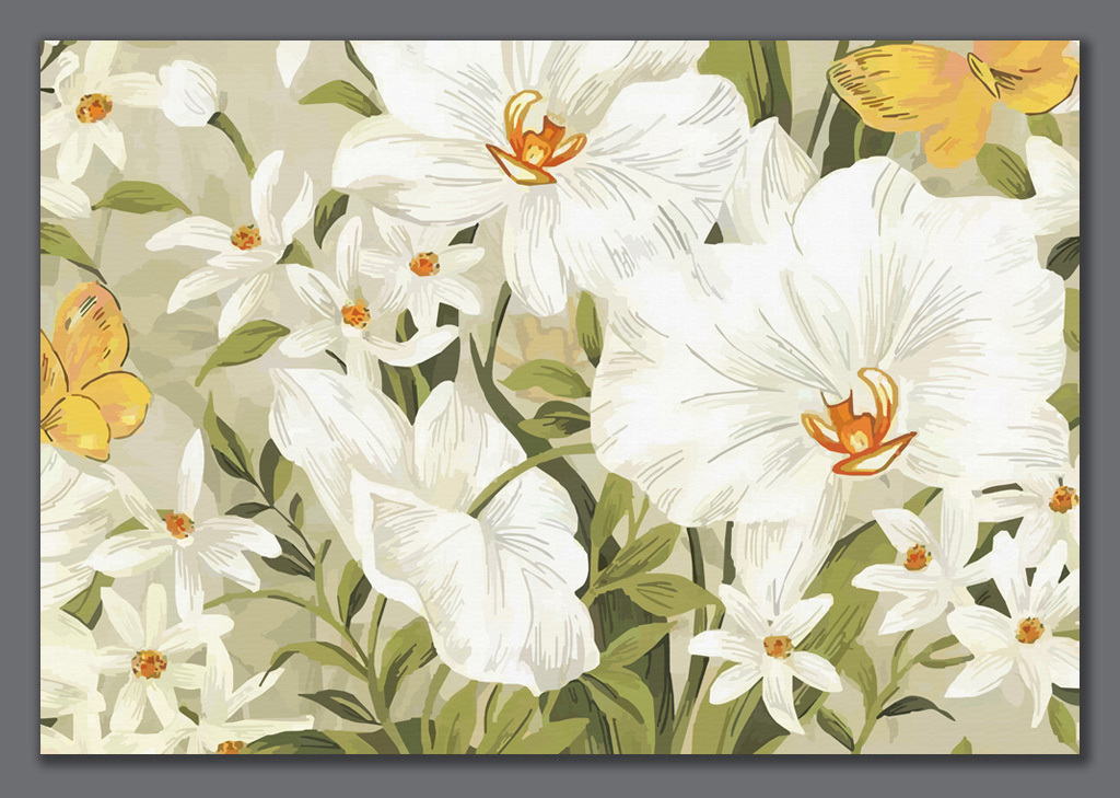 手绘花卉百合电视背景墙