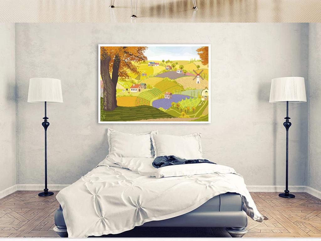 现代简约秋天农场丰收装饰画油画