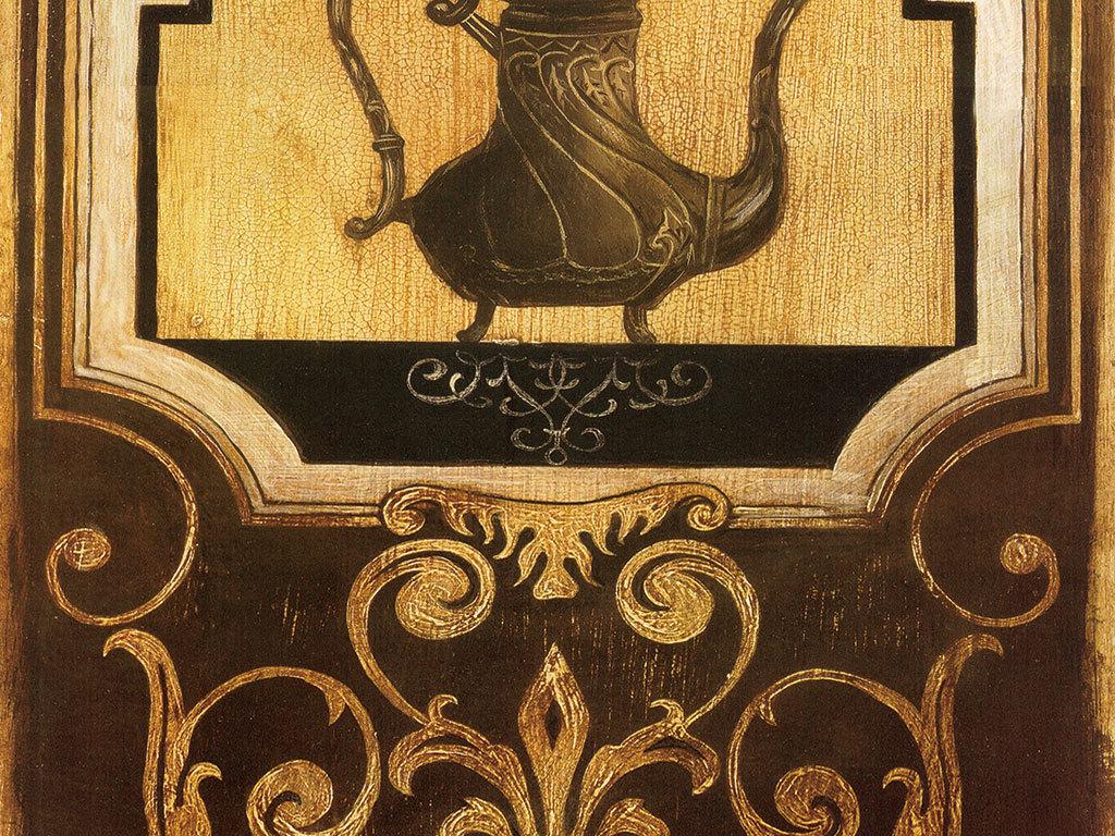 欧式茶壶灰底古典花纹图案图片