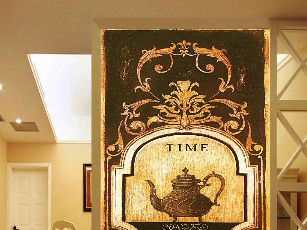 欧式古典图案茶壶图片