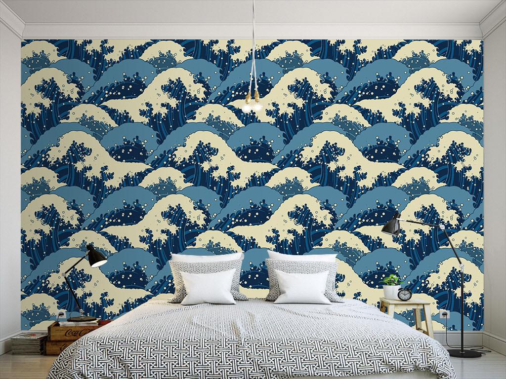 现代海浪手绘墙纸