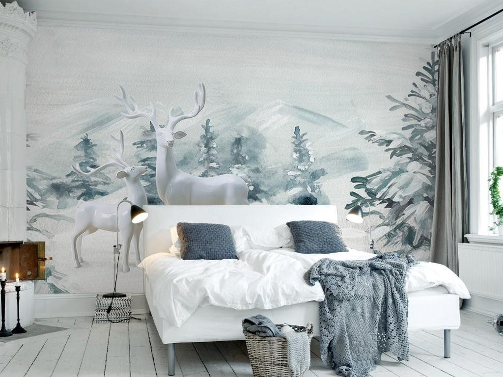 3d素雅北欧风格麋鹿松树林水彩电视背景墙