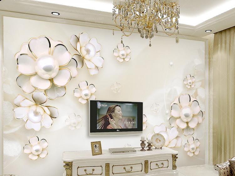 唯美奢华欧式3d立体花朵婚房电视背景墙