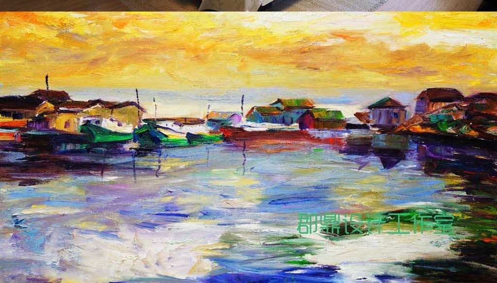 巨幅抽象手绘油画背景墙房子天空河流