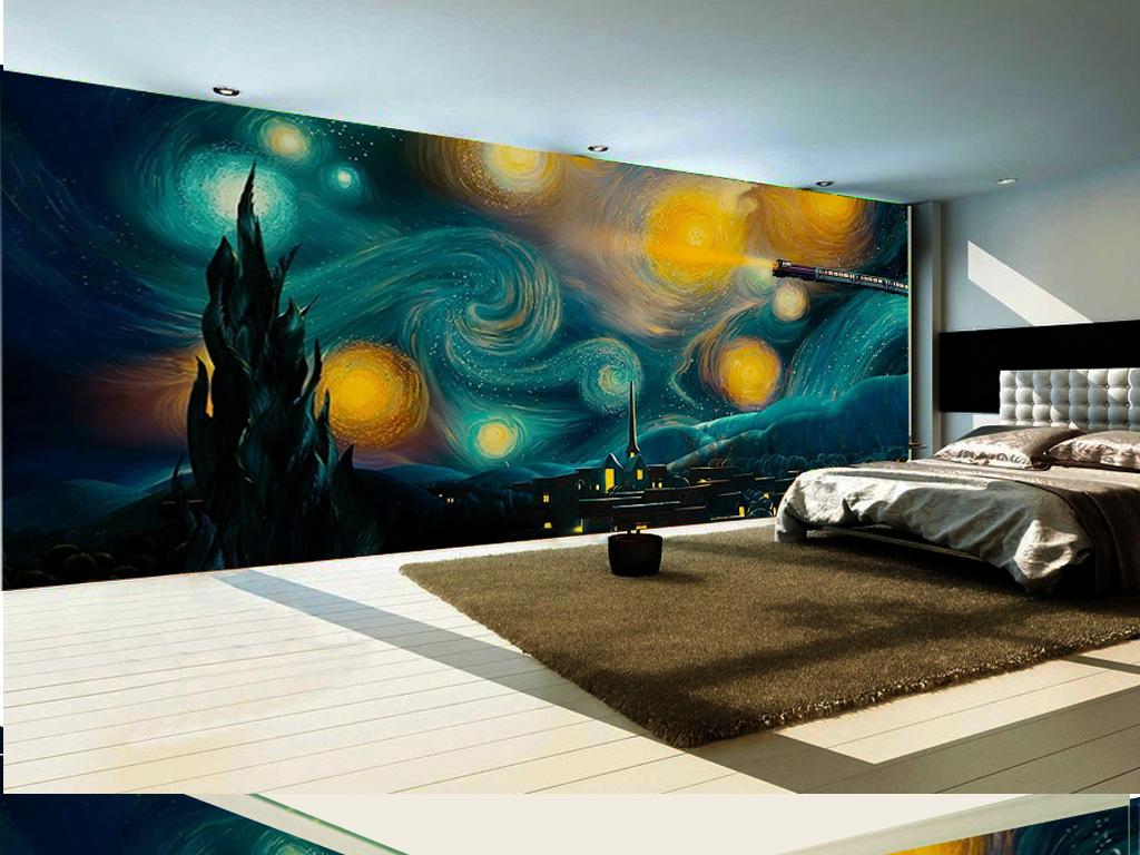 手绘遨游星空火车主题工装儿童房背景墙图片
