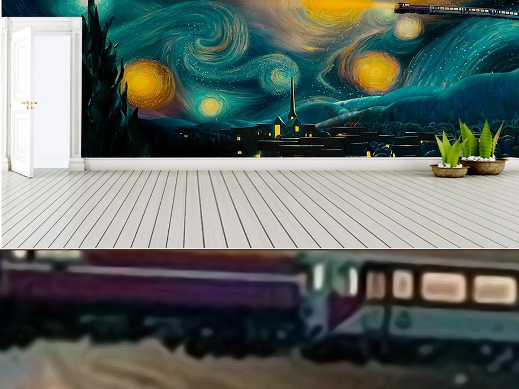 背景墙|装饰画 电视背景墙 儿童房背景墙 > 手绘遨游星空火车主题工装